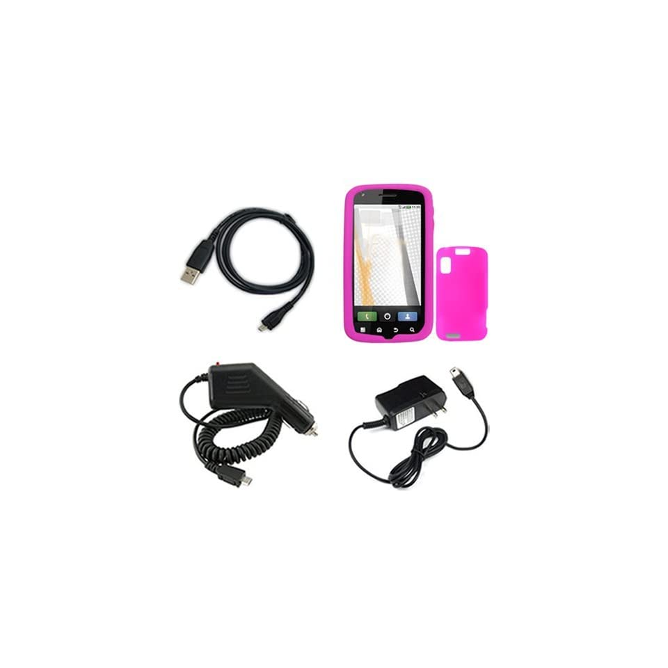 Motorola Atrix 4G MB860 Combo Trans. Hot Pink Silicone Skin Case Faceplate Cover + Home Wall Charger + Rapid Car Charger + USB Data Charge Sync Cable for Motorola Atrix 4G MB860