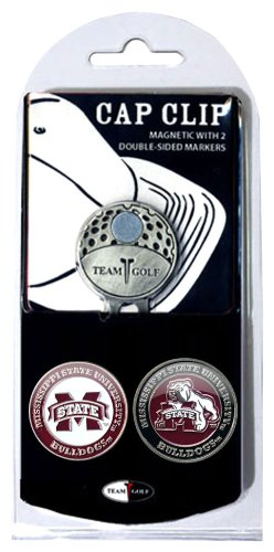 Bulldog Mississippi Club State - Team Golf NCAA Mississippi State Bulldogs Golf Cap Clip with 2 Removable Double-Sided Enamel Magnetic Ball Markers, Attaches Easily to Hats