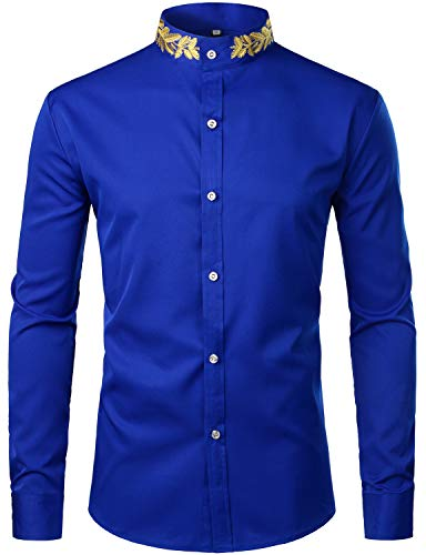 (ZEROYAA Mens Hipster Gold Embroidery Mandarin Collar Slim Fit Long Sleeve Casual Dress Shirts Z52 Blue Large)