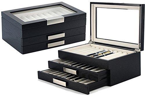 Decorebay Executive Double Drawer Wooden Grain 30 Fountain Pen Collector Organizer Box with Glass Window (Dark Night) by decore Bay (Image #5)
