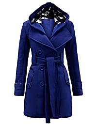 Womens Long Sleeve Belted Button Fleece Coat Size S M L XL 12 14 16 18 20 22