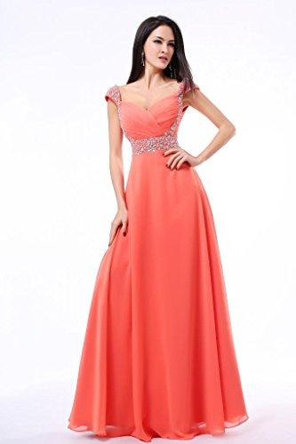 per in sera da Balllily lungo abito da ed Coral donna eventi cerimonie chiffon eleganti 8qqwYfx