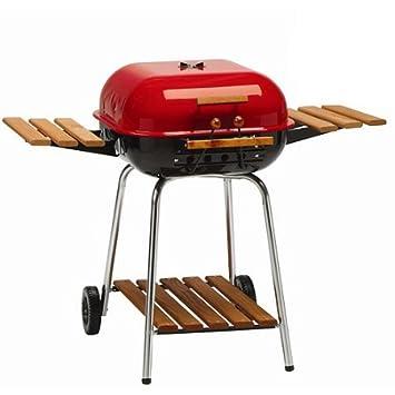 Meco Americana (53, 3 cm, parrilla de barbacoa de carbón, con ajustable, composite-wood plegable mesa auxiliar (2) y estante inferior, rojo: Amazon.es: ...