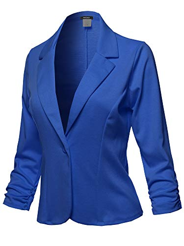 Casual Solid One Button Classic Blazer Jacket - Made in USA Royal Blue Size M