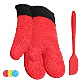 ATOZEDO Durable Silicone Oven Mitts, Extra Long Heat Resistant Oven Gloves with Quilted Liner - Plus Silicone Baking Spatula in Food Grade Silicone Material Red Oven Mitts Set