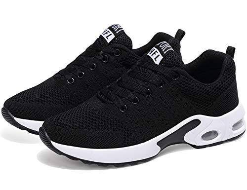 GNEDIAE Correr Asfalto para Mujer Negro Deportes Transpirable Aire de Zapatos Malla y Running Zapatillas Senderismo Casuales Libre Montaña Blanco y Deportivas 002 qpwr6fq