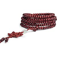 Sandalwood Buddhist Buddha Meditation 216 6mm Prayer Bead Mala Bracelet Necklace ERAWAN (Red)