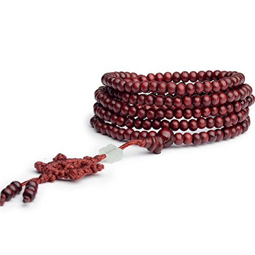 Sandalwood Buddhist Buddha Meditation 216 6mm Prayer Bead Mala Bracelet Necklace ERAWAN (Red) by ERAWAN
