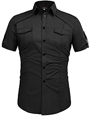 Paul Jones Men Fashion Designer Dress Shirts Stylish Short Sleeve Shirt CL4404