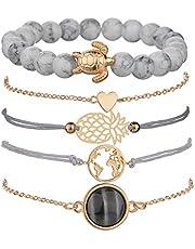 Beaded Bracelets for Women - Adjustable Charm Pendent Stack Bracelets For Women Girl Friendship Gift Rose Quartz Bracelet Links with Pearl Gold Plated, Metal,