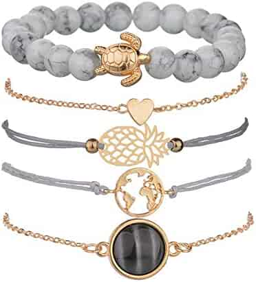 4012b8da6 VONRU Beaded Bracelets for Women - Adjustable Charm Pendent Stack Bracelets  for Women Girl Friendship Gift