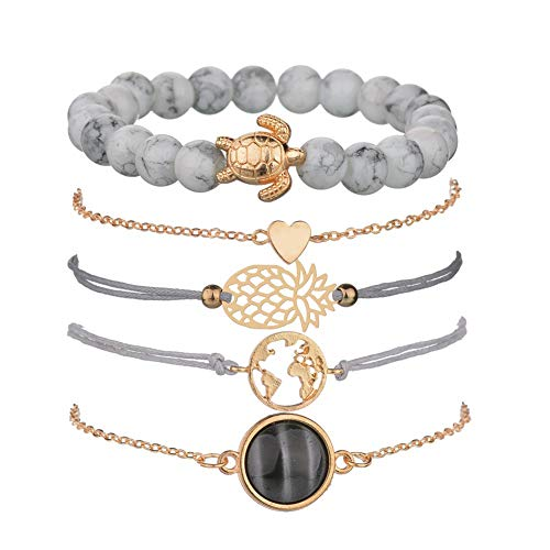 VONRU Beaded Bracelets for Women - Adjustable Charm Pendent Stack Bracelets for Women Girl Friendship Gift Rose Quartz Bracelet Links with Pearl Gold Plated 5pcs/Set (Stone & Turtle Bracelet)
