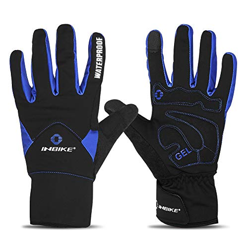 INBIKE Men's Winter Cold Weather Thermal Windproof Gel Bike Gloves Blue XX-Large (Best Winter Glove Brands)