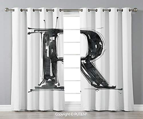 Grommet Blackout Window Curtains Drapes [ Letter R,Sketch Style R World with Grunge Gothic Tones Hand Drawn Paintbrush Illustration,Black White ] for Living Room Bedroom Dorm Room Classroom Kitchen Ca