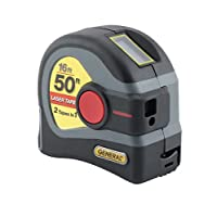 General Tools LTM1 2-in-1 Laser Tape Measure, LCD Digital Display, 50