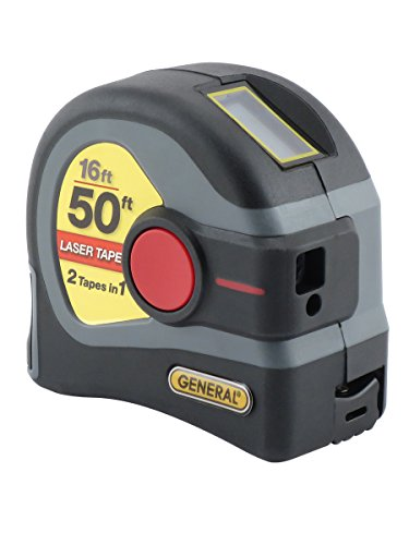 General Tools LTM1 2-in-1 Laser Tape Measure, LCD Digital Display, 50' Laser Measure, 16' Tape Measure Classic 16' Single Light