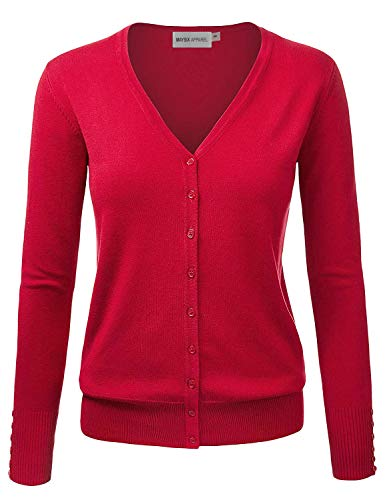 Cardigan Cotton Nylon - MAYSIX APPAREL Long Sleeve Lightweight Button Down V-Neck Knit Sweater Cardigan For Women RED M