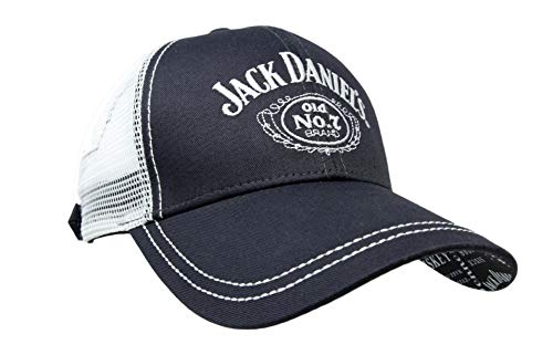Jack Daniel's Official Patterned Bill Cap - Structured Low-Profile Hat with Old No. 7 Logo on Front and Customized Branding Under Bill Black