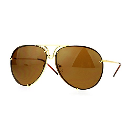 Oversized Round Aviator Sunglasses Metal Rims Behind Lens Gold, - Sunglasses Gold Rim Womens For