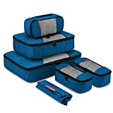 Travel Packing Cubes, Luggage Organizers L+M+3XS+Laundry Bag Deep blue