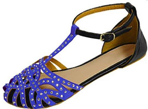 Womens Microsuede Sandals Flat Shoes W/Rhinestones,Studs & Contrast Ankle (9/10, Cobalt/Black 186348)