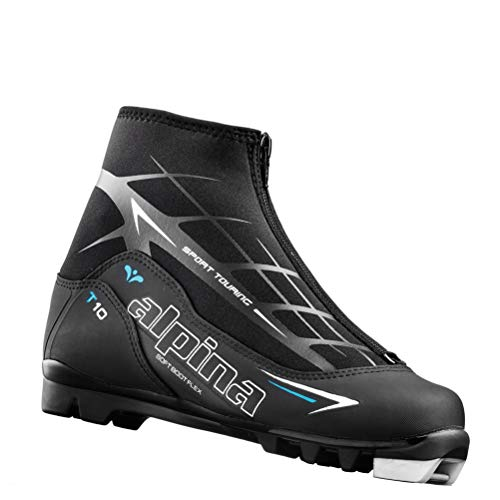 (Alpina Sports Women's T10 Eve Touring Ski Boots With Zippered Lace Cover, Euro 42, Black/White/Blue)
