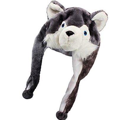 [Adorox Plush Animal Winter Hats Mitten Paws Head Wear Beanie Hat Ear Muffs (Grey Wolf (Small))] (Wolf Head Hat)