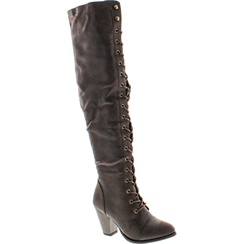 Forever Women's Chunky Heel Lace up Over-The-Knee High Riding Boots, Brown PU, 7.5