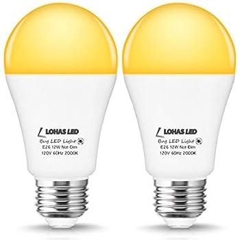 Lohas A19 Bug Light Bulb 2000k Yellow Light 12w Led 100w