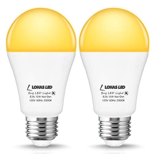 LOHAS A19 LED Yellow Bug Light Bulb, 1000LM Amber Light Bulb for Porch Lights, 12W (100W Equivalent) Yellow Light, E26 Medium Base for Hallway Front Door Yard Light, Non-Dimmable, Pack of 2