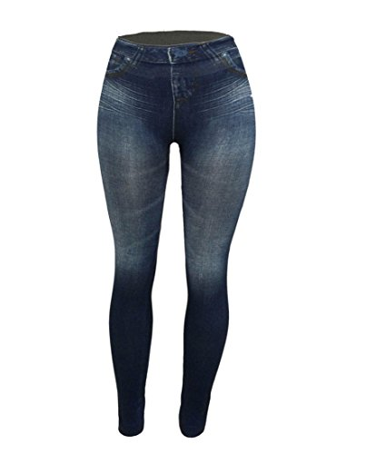 CLOYA Women's Denim Print Fake Jeans Seamless Full Length Summer/Spring Leggings (Small/Medium, Blue)