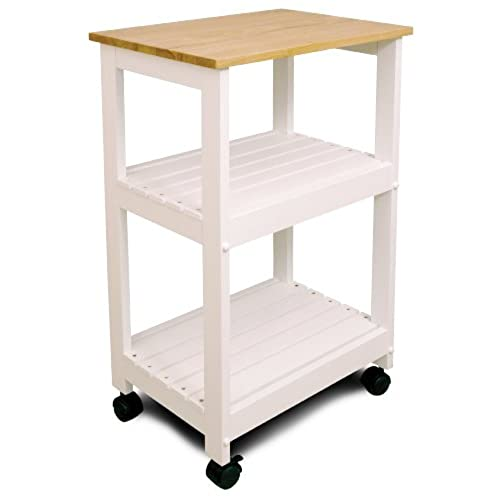 Awesome Catskill Craftsmen Utility Kitchen Cart/Microwave Stand, White Base With  Natural Top