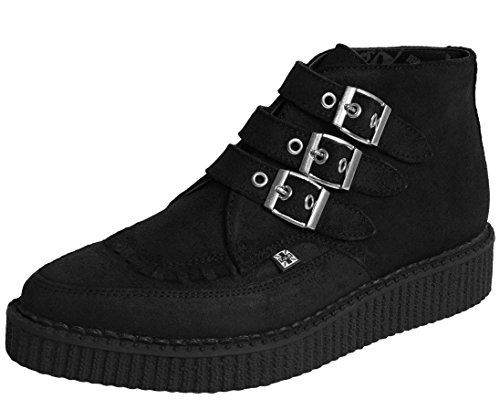 - T.U.K. Original Footwear 3 Buckle Pointed Creeper Boot,Black Suede,US 10 M