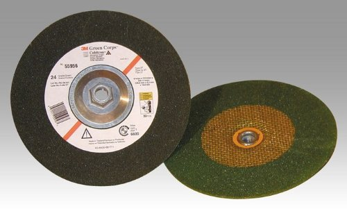3M Green Corps Ceramic Depressed-Center Wheel - 24 Grit Very Coarse Grade - 4 in Dia 3/8 in Center Hole - Thickness 1/4 in - 61010 [PRICE is per WHEEL] by 3M