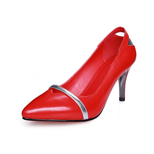 AdeeSu Womens Professional Pointed-Toe No-Closure Slip-Resistant Leather Pumps Shoes SDC05013 Red