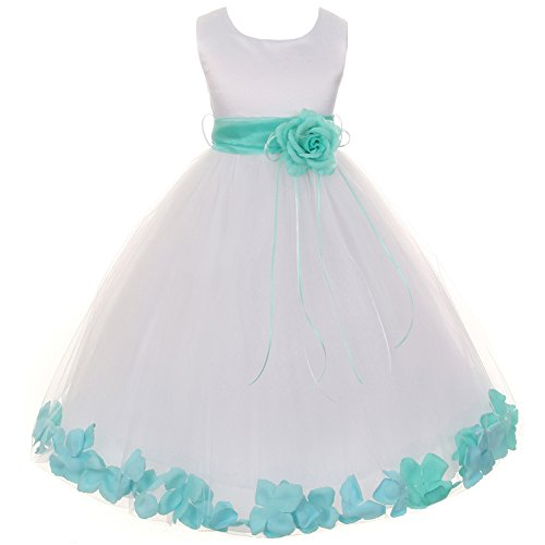 Big Girls White Sleeveless Satin Bodice Floating Flower Petals Girl Dress with Matching Organza Sash and Double Tulle Skirt - Mint Set - Size 12 -