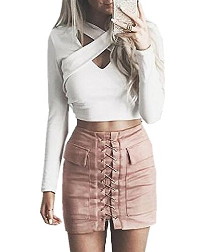 Simple-Fashion Jupes Femme Elegante Traverser Bandage Court Jupes de Cocktail Party Jeune Fashions Couleur Unie Moulante Package Hanche Mini Jupe Rose