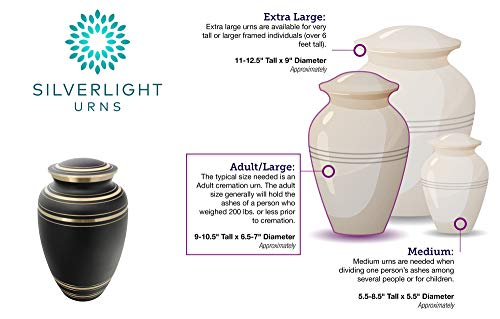 Silverlight Urns Classic Onyx Brass Cremation Urn, Black Brass Urn for Human Ashes, 10.25 Inches Tall