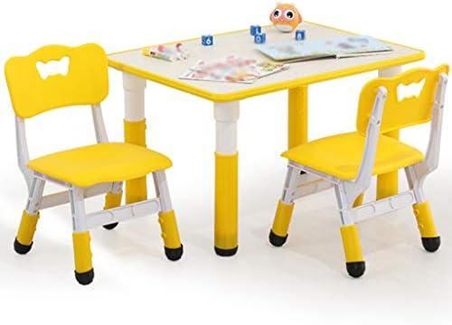学習デスク 子供の学習テーブルと椅子セット、高さ調節可能キッズデスクセット 、幼稚園インタラクティブワークステーション、子供用マルチアクティビティテーブルセット、最大負荷:250KG (Color : Yellow)