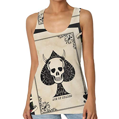 Tank Tops Ace of Spades Rose Death Card Womens Fitness Gym Lifting Workout Tank Top T-Shirt