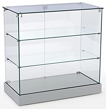 Retail Display Cabinet With Frameless Design Tempered Glass Case With 2 Shelves