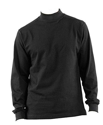 DSCP US Military Thermal Mock Turtleneck Long Sleeve Jersey Shirt, 2XL, Black