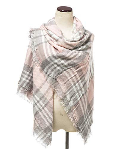 Lucky Leaf Women Winter Checked Pattern Cashmere Feel Warm Plaid Infinity Scarf (Wrap-Pink Plaid) ()