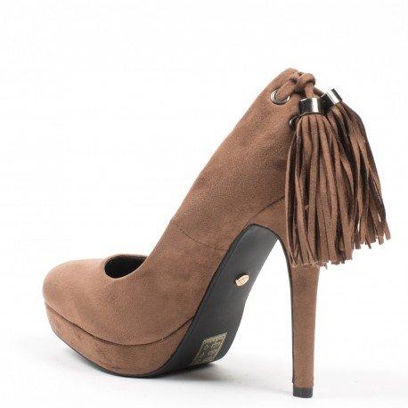 Ideal Shoes - Escarpins effet daim avec lacet à franges à l'arrière Maliane Taupe 37
