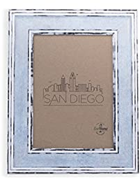 5x7 picture frame distressed blue mount desktop display frames by ecohome