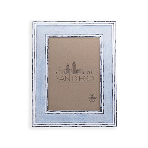8x10 Picture Frame Distressed Blue - Mount Desktop Display, Frames by EcoHome