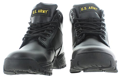 U.S. Army Tactical Mens Mid Combat Boots Leather Law Enforcement Military Black/Black RXS3A