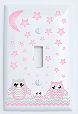 Grey and Pink Owl Light Switch Plate Covers and Outlet Covers / Owl Nursery Decor