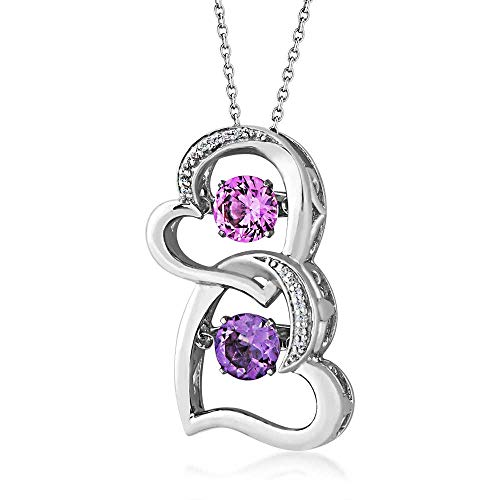 Round Twinkling Amethyst & Created Pink Sapphire Double Heart Pendant in 10K White Gold - 80504A6MXSZO