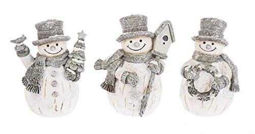 Ganz Sparkle Woodland Snowman Figurines Set of 3 Assorted,White, Gray,3